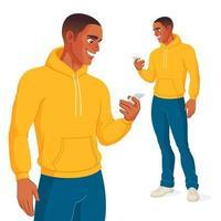 Black man checking his phone vector illustration