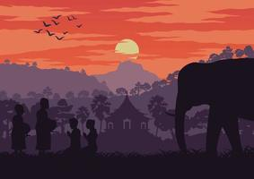 Monks and elephant in Thailand at sunset vector