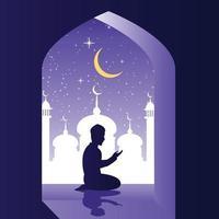 Muslim man praying in mosque vector