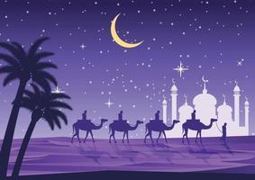 Caravana de camellos frente a la mezquita. vector