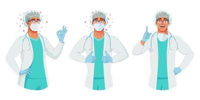 vector, conjunto, de, doctor, en, máscara, sombrero, y, guantes vector