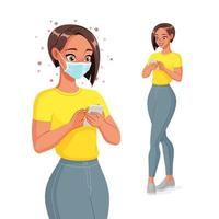 Woman in face mask texting on smartphone vector illustration