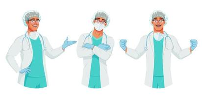 Vector set of happy doctor in mask hat and gloves