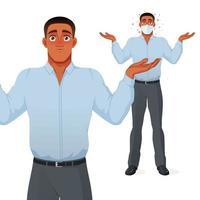 Questioning businessman shrugging shoulders cartoon vector character