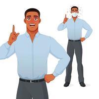 Hombre negro apuntando con el dedo hacia arriba para dar consejos ilustración vectorial de dibujos animados vector