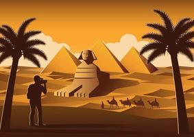 Tourist take photo of pyramids in Egypt vector