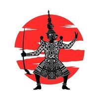 rey samurai sosteniendo espada vector