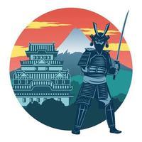 Samurai and pagoda design vector