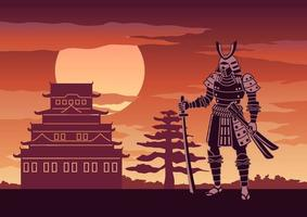 Knight of japan called Samurai in front of pagoda vector