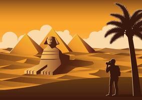Tourist taking photos of sphinx vector