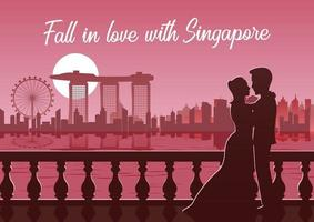 Silhouette of couple with Singapore skyline in background vector