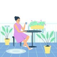 Una mujer en bata bebe café en el balcón. vector