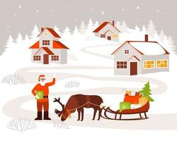 Santa Claus came to the village to deliver gifts to children vector