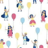 Kids seamless pattern with balloons in carnival costumes vector