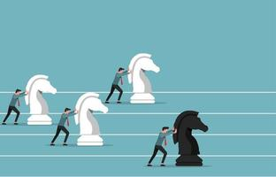 Businessmen pushing knight chess pieces to be a winner vector illustration