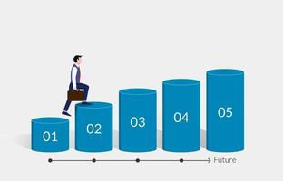 Step by step businessman walking to success path in the future concept vector