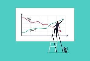 Businessman drawing graphs profit vs cost reduction concept vector illustration