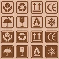 Cardboard box packaging symbols vector