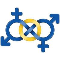 Symbol of man and woman united by infinity vector