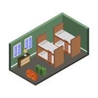 Isometric Hostel Room vector