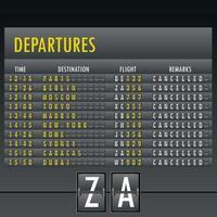 Airport terminal timetable vector