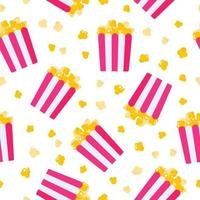 Seamless pattern of paper box with popcorn for the wedding or Valentine Day vector