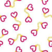 Seamless pattern of heart shaped handcuffs for the wedding or Valentine Day vector