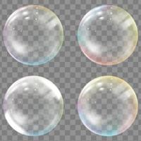 Transparent colored soap or water bubbles vector
