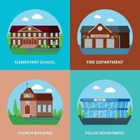 Ilustración de vector de concepto de diseño de edificios municipales