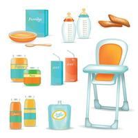 Baby Feeding 3D Set Vector Illustration