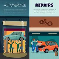 Banners verticales de servicio de coche conjunto ilustración vectorial vector