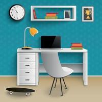 Ilustración de vector realista interior de lugar de trabajo de adolescente