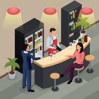 bar restaurante fondo isométrico ilustración vectorial vector