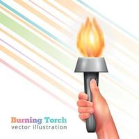 Realistic Hand Torch Background Vector Illustration