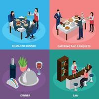 catering banquete concepto isométrico ilustración vectorial vector