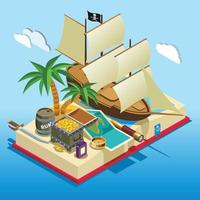 Pirate Elements Isometric Game Composition Vector Illustration