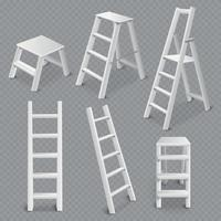 Ladders Realistic Set Vector Illustration