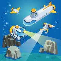 Ilustración de vector de composición de vehículos submarinos