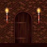 Ilustración de vector de composición de puerta de entrada vintage