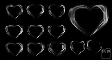 Set of hearts made of smoke vector