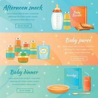 Infant Food Horizontal Banners Vector Illustration
