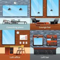 Loft Interiors Design Concept Vector Illustration