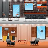 Lounge Loft Banners Collection Vector Illustration