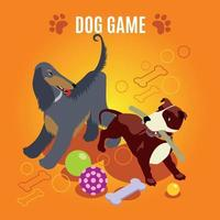 Dog Game Isometric Composition Vector Illustration