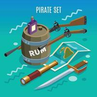 Pirate Set Isometric Game Background Vector Illustration