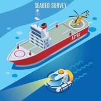Sea Bed Survey Background Vector Illustration