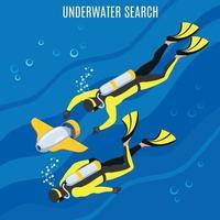 Underwater Search Background Vector Illustration