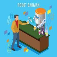 Isometric Robotic Restaurant Background Vector Illustration