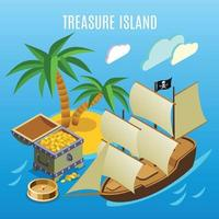 Ilustración de vector de fondo de juego isométrico de la isla del tesoro