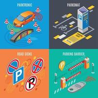 Isometric Parking Icon Set Vector Illustration